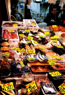 All kinds of seafood for sale.