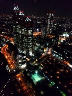 The three towers of the Shinjuku Park Tower are home to a Hyatt hotel as well as many businesses.