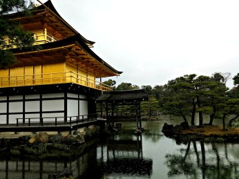 A closer look behind Kinkakuji.