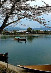 A boat gliding along the Katsura River.