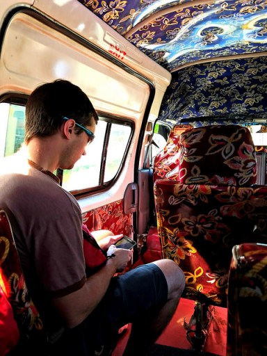 Inside one of Fiji's minibuses
