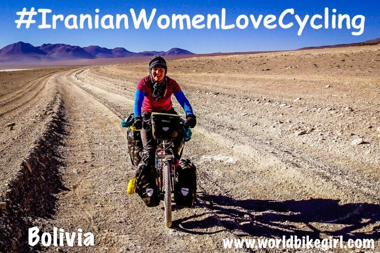 Photo of me cycling in Bolivia with hashtag Iranian Women Love Cycling