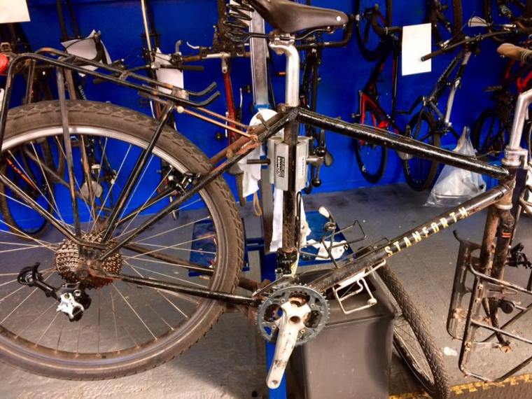 Bike on stand for repairs