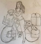 Drawing of Lucy and World Bike Girl