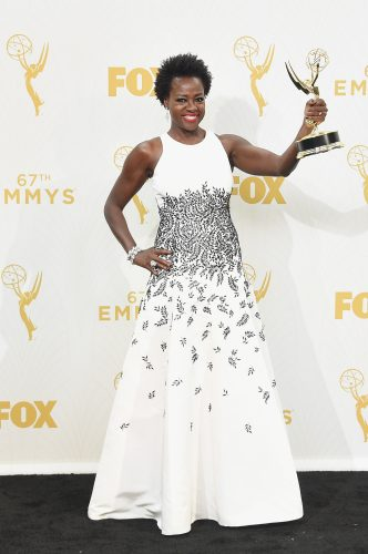 """LOS ANGELES, CA - SEPTEMBER 20:  Actress Viola Davis, winner of Outstanding Lead Actress in a Drama Series for """"How to Get Away with Murder"""", poses in the press room at the 67th Annual Primetime Emmy Awards at Microsoft Theater on September 20, 2015 in Los Angeles, California.  (Photo by Jason Merritt/Getty Images)"""