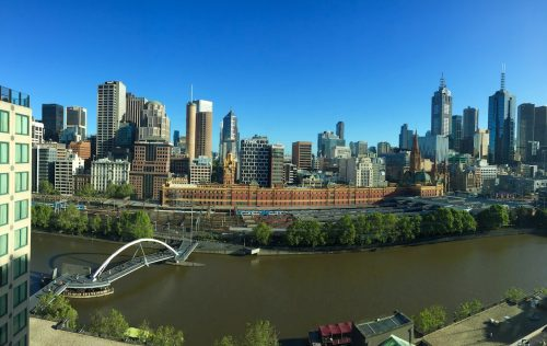 The Langham Melbourne river view skyline