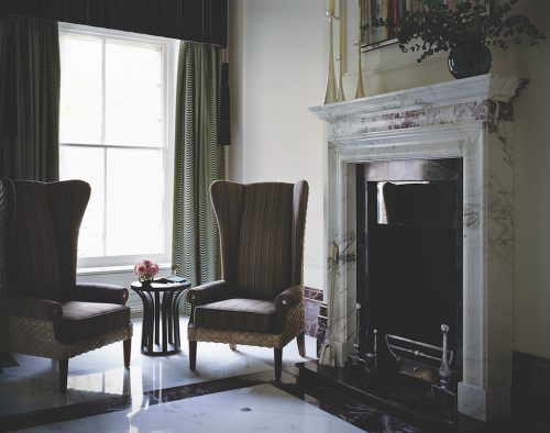 Langham London Lobby-Fireplace (credit Langham)