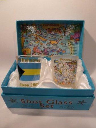 BERMUDA SHELLS ON SHORE BOXED SHOT GLASS SET SET OF 2