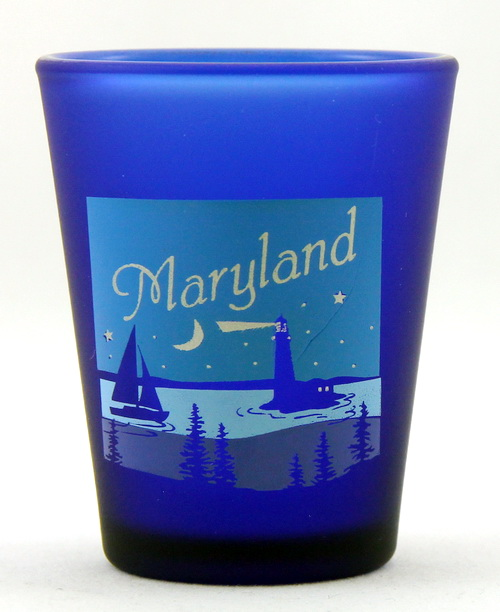 MARYLAND STATE MONTAGE SQUARE SHOT GLASS SHOTGLASS