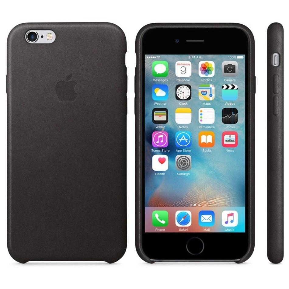 Capac protectie spate Apple Leather Case Premium Black pentru iPhone 6s, MKXW2ZM A