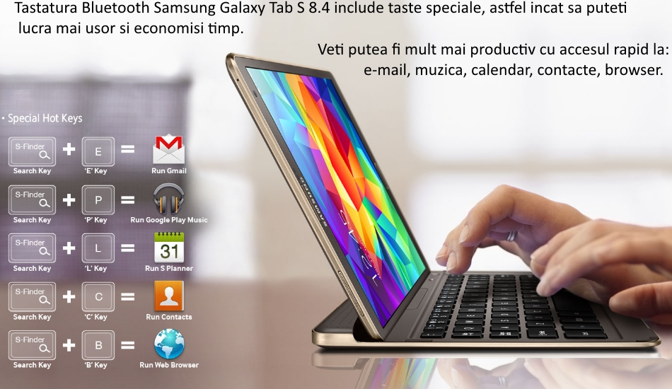 Husa Book cu tastatura bluetooth integrata pentru Samsung Galaxy Tab S 8.4 2