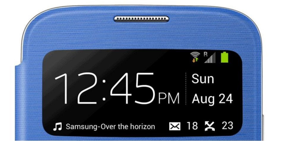 Husa S-View Flip Cover Light Blue pentru Samsung Galaxy S4 (i9500, i9505), EF-CI950BCEGWW 4