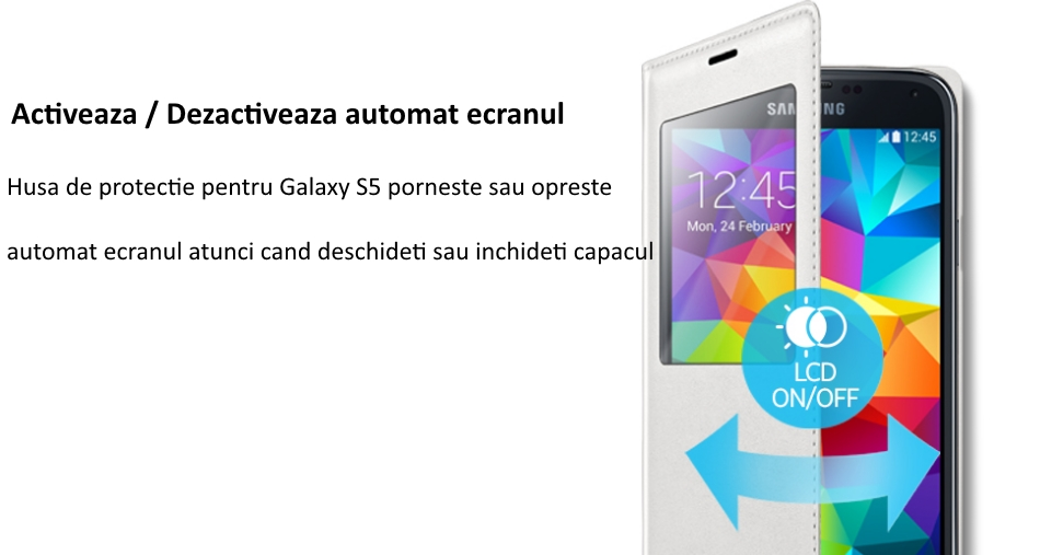Husa S-View Flip Cover pentru Samsung Galaxy S5 (G900) 5