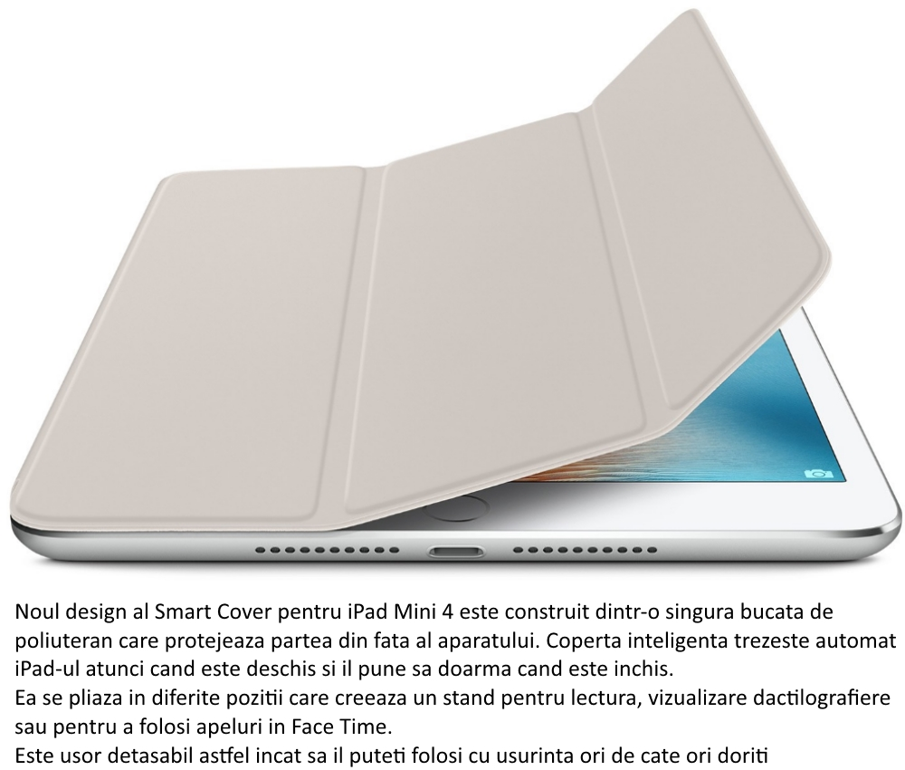 Husa Stand Apple Smart Cover pentru iPad mini 4, MKM02ZM A Stone
