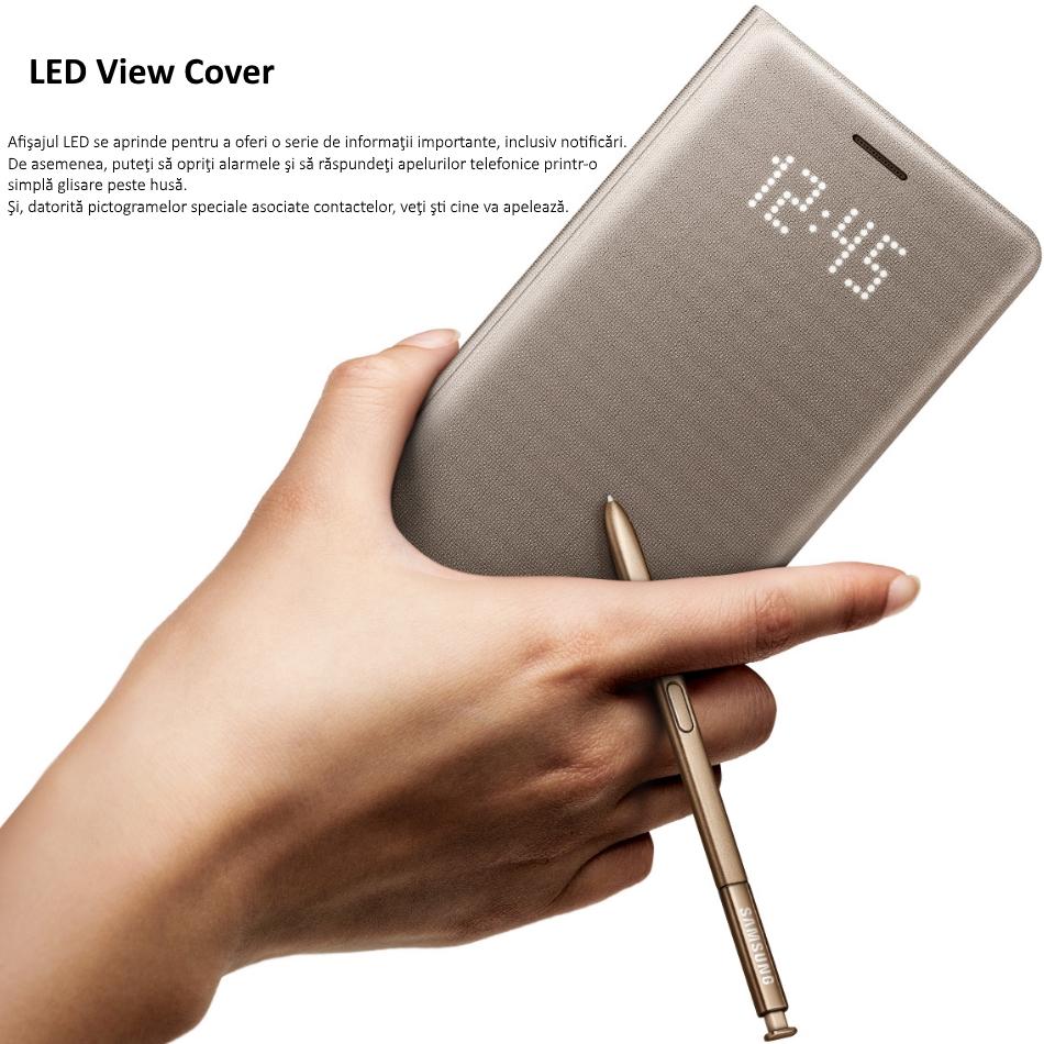 Husa protectie Led View Cover pentru Samsung Galaxy Note 7 (N930), EF-NN930PF Gold