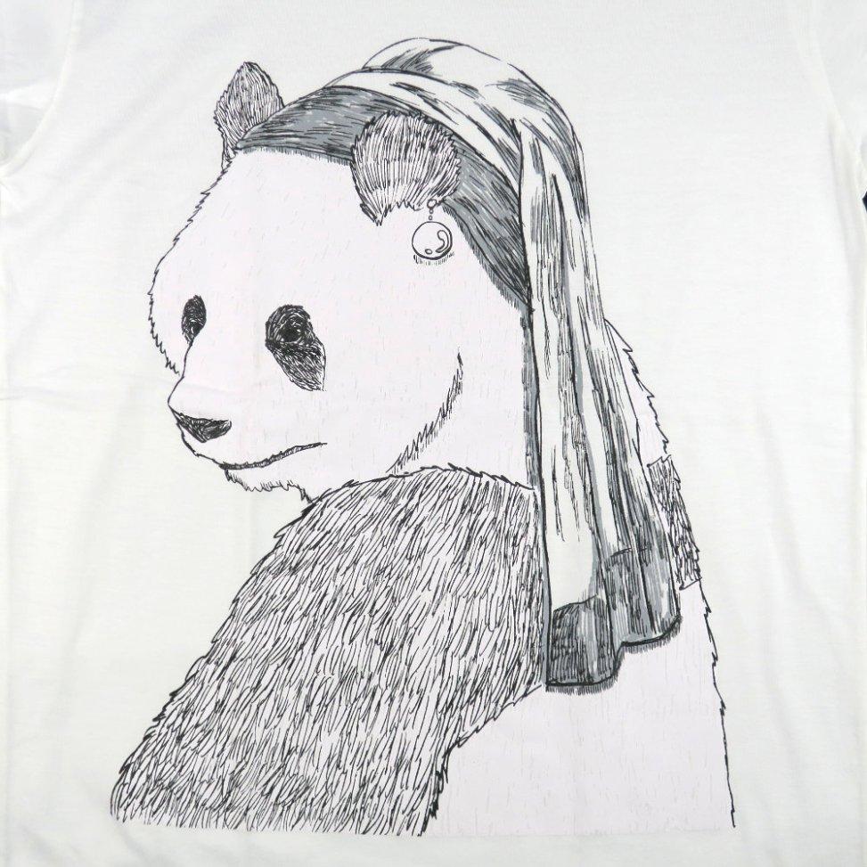 「真珠の耳飾りのパンダ」Tシャツ イラスト部分