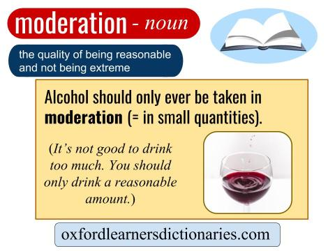 moderation. English listening.