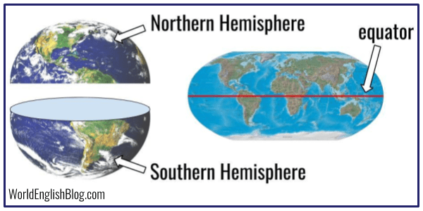 Hemisphere - one half of the earth, especially the half above or below the equator