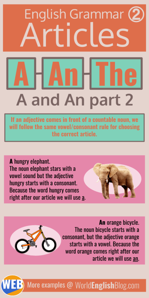 English basics - Articles A, An Infographic