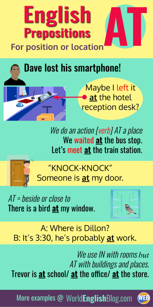 English prepositions AT with places