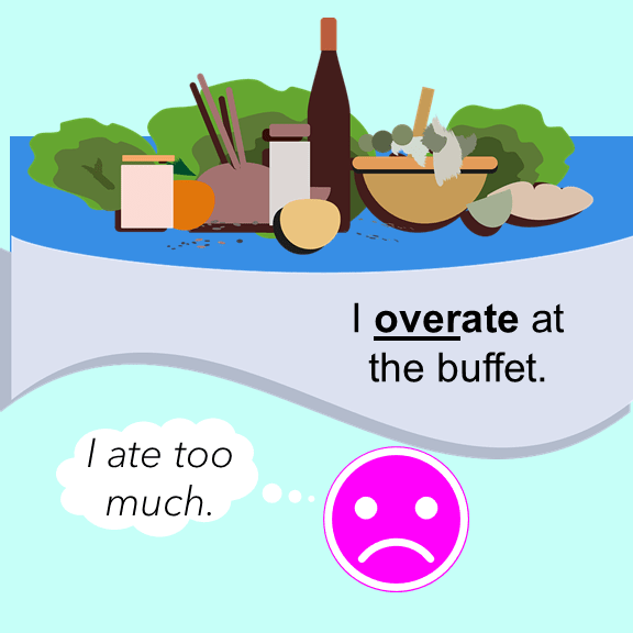 Over and Under as prefixes I overate at the buffet.