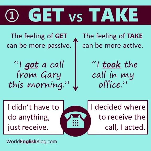 GET vs TAKE - got a call or took a call