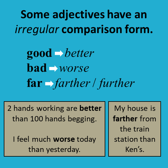 Irregular adjectives comparison form English grammar