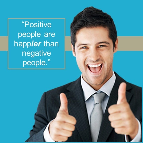 English grammar - comparison Positive people are happier than negative people.