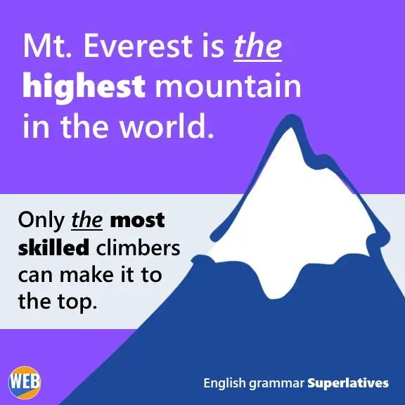 English grammar Superlatives Mt. Everest is the highest mountain in the world.