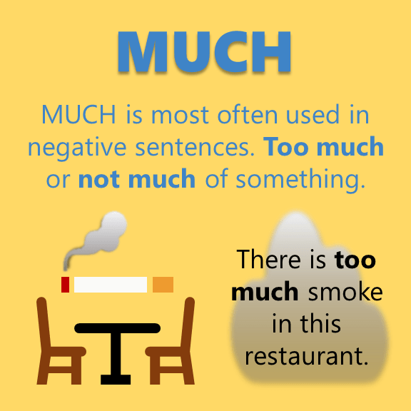 Much or Many - There is too much smoke in this restaurant.