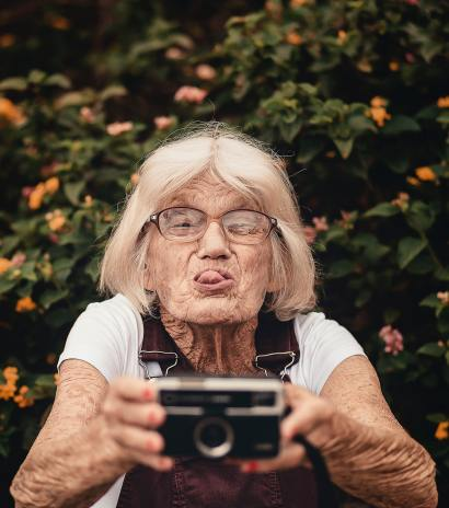 woman with hearing loss taking selfie