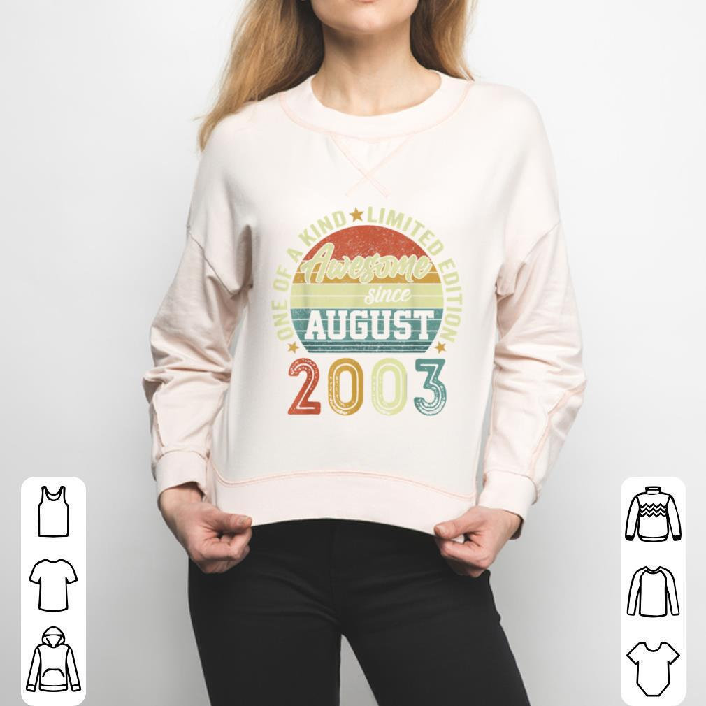 18 Year Old Birthday Awesome Since August 2003 18th Birthday T Shirt