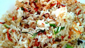 Brown basmati rice with dates, mint and crispy onion