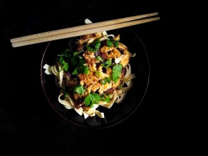 Aubergine and black bean sauce with tofu mince