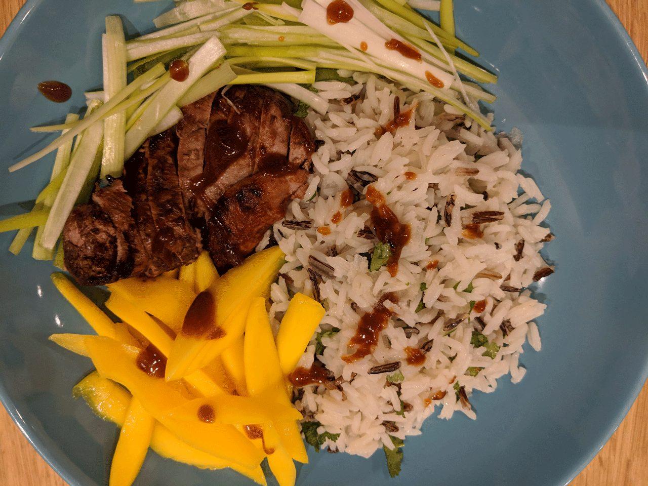 Hoisin Duck, Mango & Wild Rice Bowls