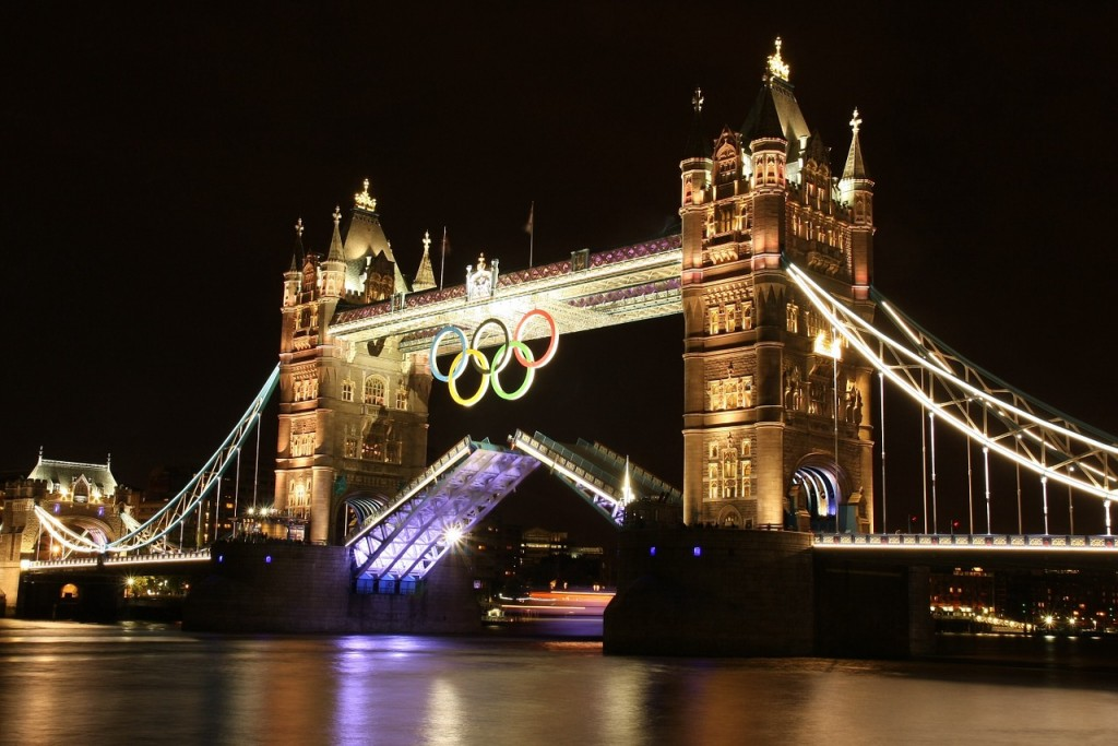 London's Tower Bridge with Olympic rings