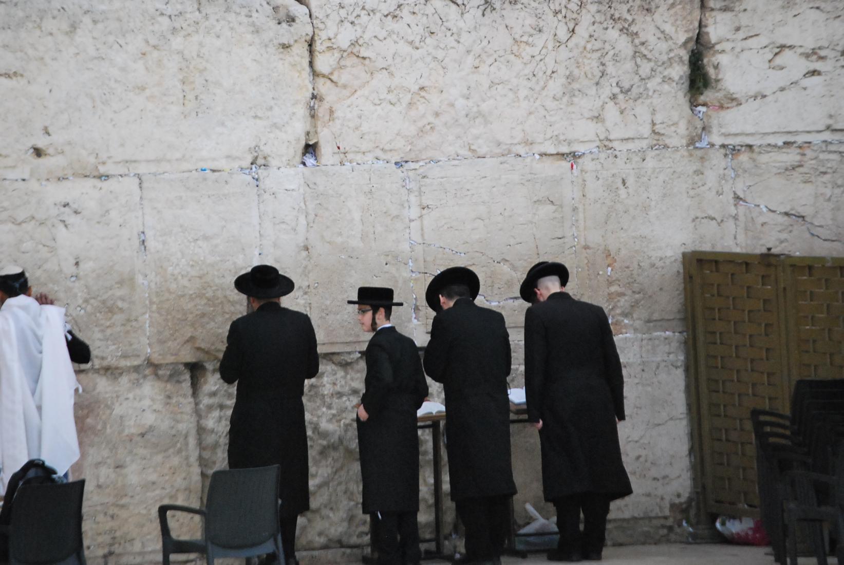 Praying at the Western Wall in Jerusalum.JPG