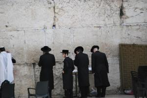 Praying at the Western Wall in Jerusalum.JPG
