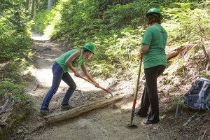 Volunteers repairing a trail in Mt. Ranier National Park.