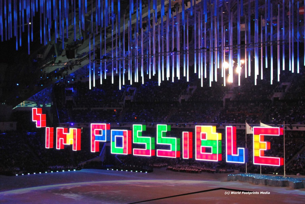 I'm Possible displayed during closing ceremony at the Sochi Paralympic Games.  Photo:  Tonya Fitzpatrick