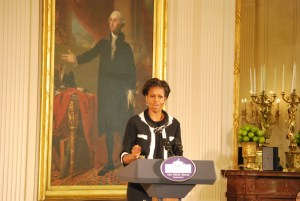 First Lady Michelle Obama speaking at the White House.  Photo taken by Tonya Fitzpatrick