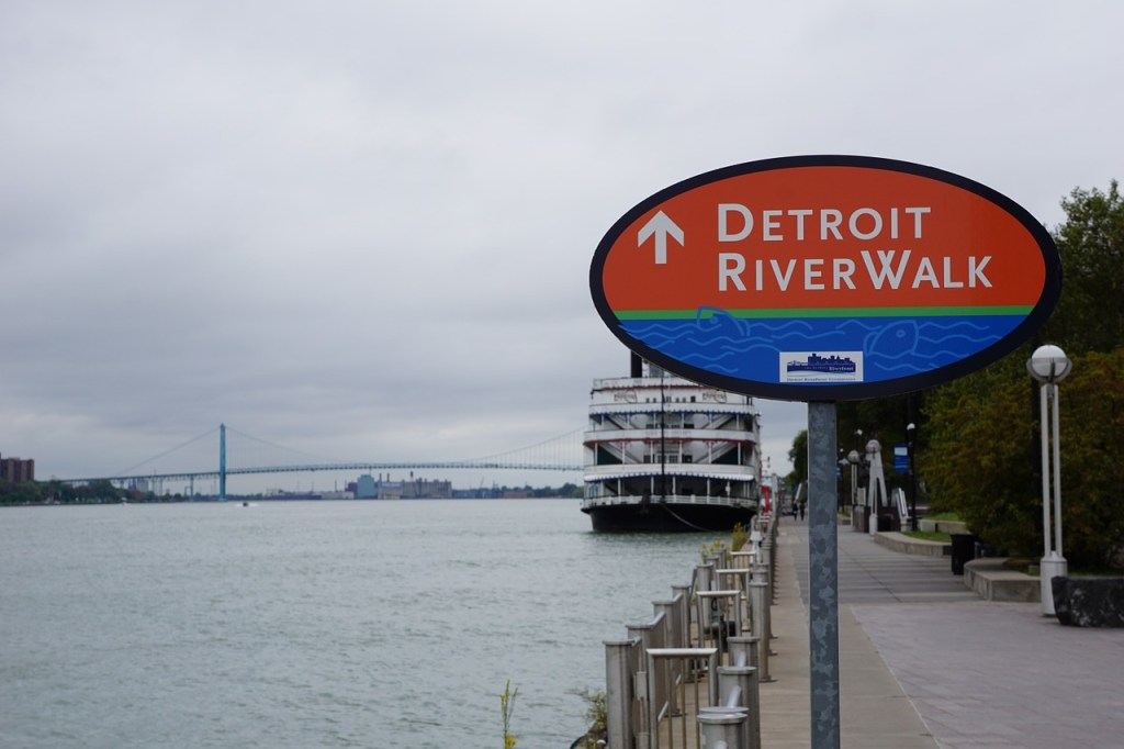 In the background is the Ambassador Bridge between Detroit and Windsor, Canada.