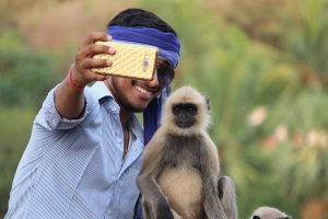 selfie-with-monkey-animal tourism