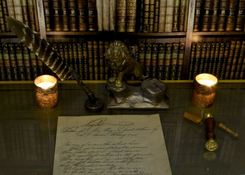 Vintage library and quill pen