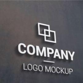 3d logo mockup on dark outer surface. branding, logo design promotion Premium Psd Free Download