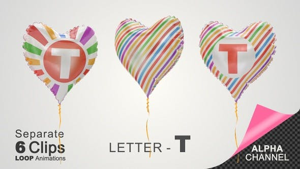 Videohive Balloons With Letter T 33525939 Free Download