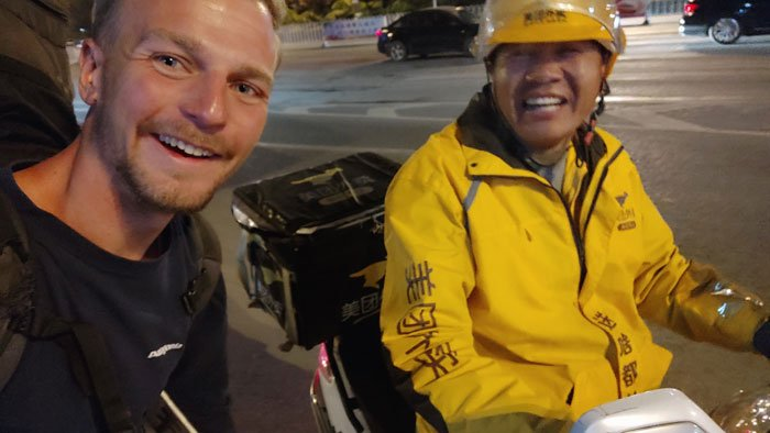 hitchhiked a scooter