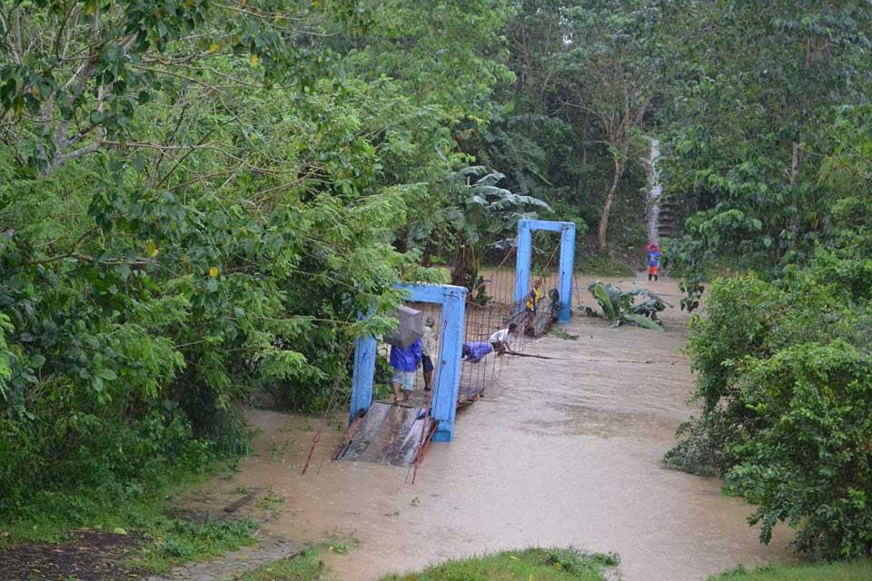 Flooded bridge in Agay