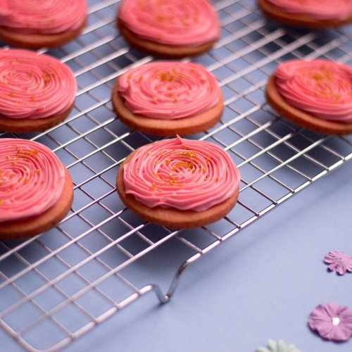Pink and Gold Sugar Cookies
