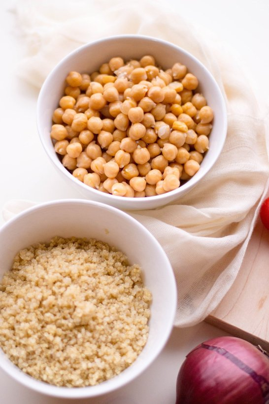 You can't do summer without hosting at least one backyard bbq. This year excite everyone's taste buds with this easy to make summer BBQ side dish of quinoa chickpea salad. It's a change from the traditional potato salad and corn on the cob. Your guests will love it.